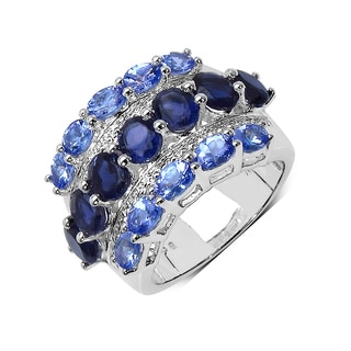 Malaika Sterling Silver 3 7/8ct Tanzanite and Iolite Ring