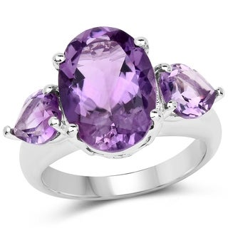 Olivia Leone Sterling Silver 6 1/3ct Amethyst Ring