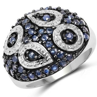 Malaika Sterling Silver 1 1/2ct Blue Sapphire Ring