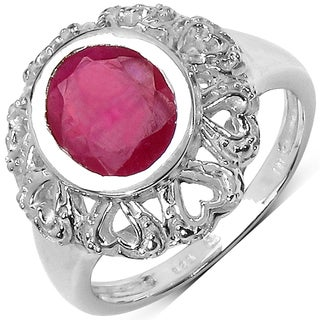 Malaika Sterling Silver 3 1/2ct Ruby Ring