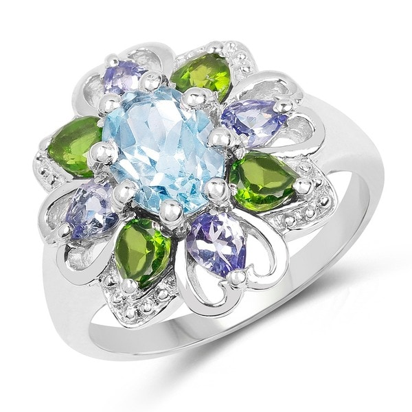 Malaika Sterling Silver 2 7/8ct Blue Topaz Chrome Diopside and Tanzanite Ring