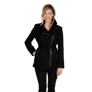 Excelled Women's Faux Wool Asymmetrical Zip