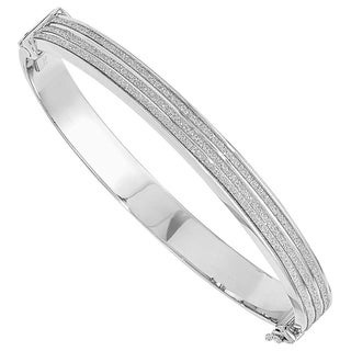 Versil Sterling Silver Glimmer Infused Hinged Bangle