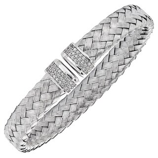 Versil Sterling Silver Cubic Zirconia Flexible Woven Cuff