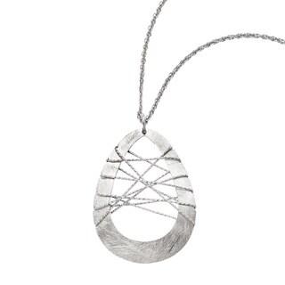 Versil Sterling Silver Scratch Finish and Laser-cut Wire Wrap Teardrop Pendant