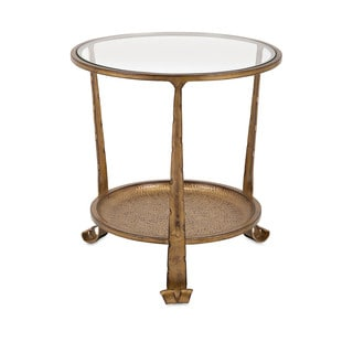 Natalia Bronze/ brown Iron Side Table with Glass Top