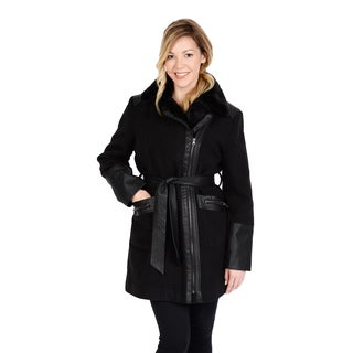Excelled Women's Faux Wool Asymmetrical Zip