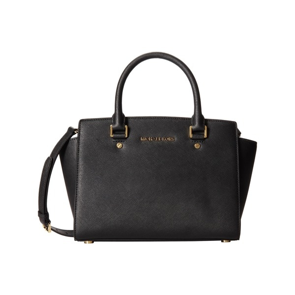 4ce492415977 Shop Michael Kors Selma Medium Black  Gold Satchel handbag - Free ...