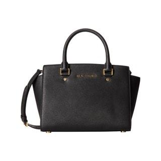 Michael Kors Selma Medium Black/ Gold Satchel handbag
