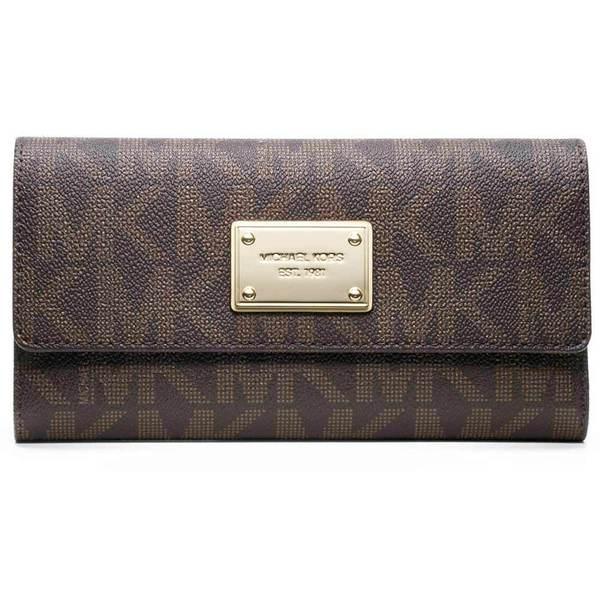 9e8860f661a5 Shop MICHAEL Michael Kors MK Brown Logo/ Gold Checkbook Wallet ...