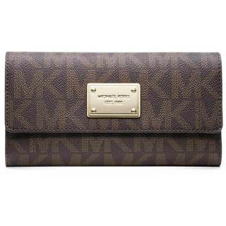 MICHAEL Michael Kors MK Brown Logo/ Gold Checkbook Wallet