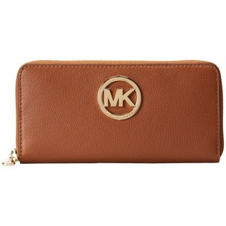 Michael Kors Fulton Luggage Brown Zip Around Continental Wallet