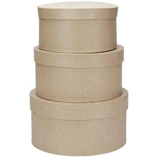 PaperMache Round Box Set 3/Pkg4in, 5in & 6in