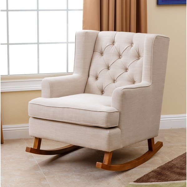 Abbyson Thatcher Beige Fabric Rocker Chair