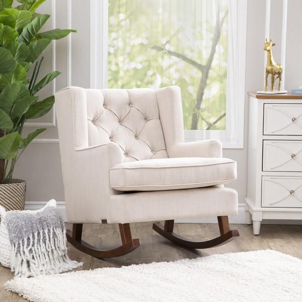Shop Abbyson Thatcher Fabric Rocker Chair On Sale Free