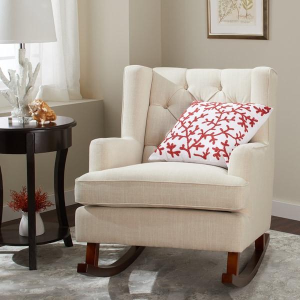 Abbyson Thatcher Linen Fabric Upholstered Glider Rocker Chair