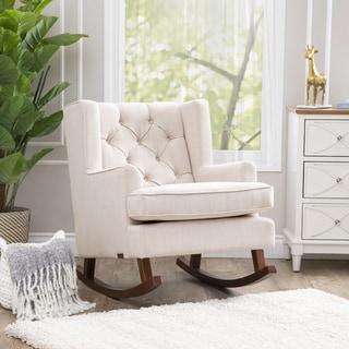 abbyson thatcher beige fabric rocker chair
