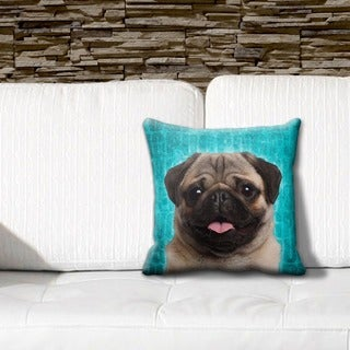 Pug Fawn Grunge 16-inch Throw Pillow