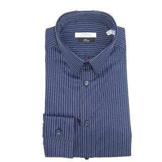 Versace Collection Mens Navy Blue Striped Long Sleeve Casual Shirt