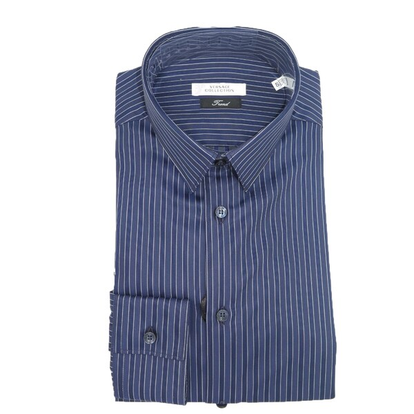 Versace collection mens navy blue striped long sleeve for Navy blue striped long sleeve shirt