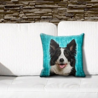 Border Collie Grunge 16-inch Throw Pillow