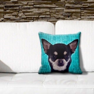 Chihuahua Black Grunge 16-inch Throw Pillow