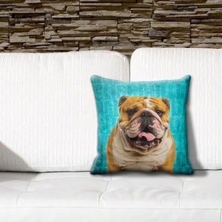 English Bulldog Grunge 16-inch Throw Pillow