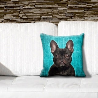 French Bulldog Black Grunge 16-inch Throw Pillow