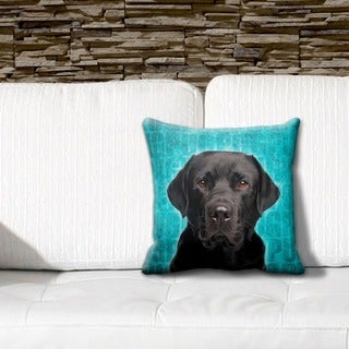 Labrador Black Grunge 16-inch Throw Pillow