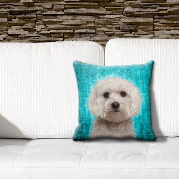 Maltese Grunge 16-inch Throw Pillow