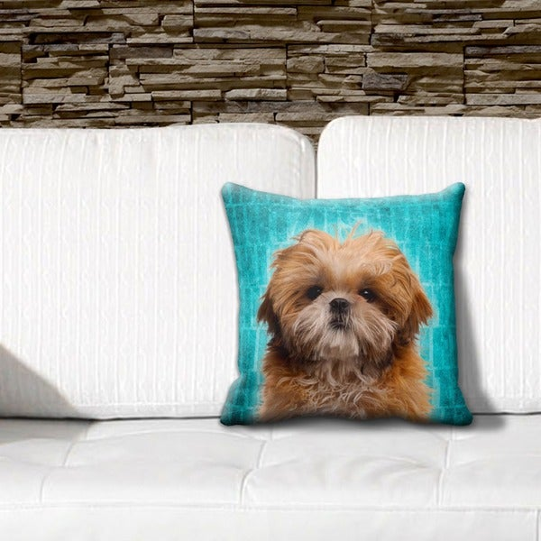Shih Tzu Grunge 16-inch Throw Pillow