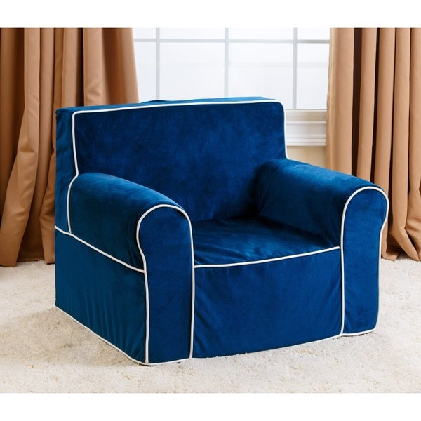 Abbyson kids oversized navy blue everywhere chair free for Oversized kids chair