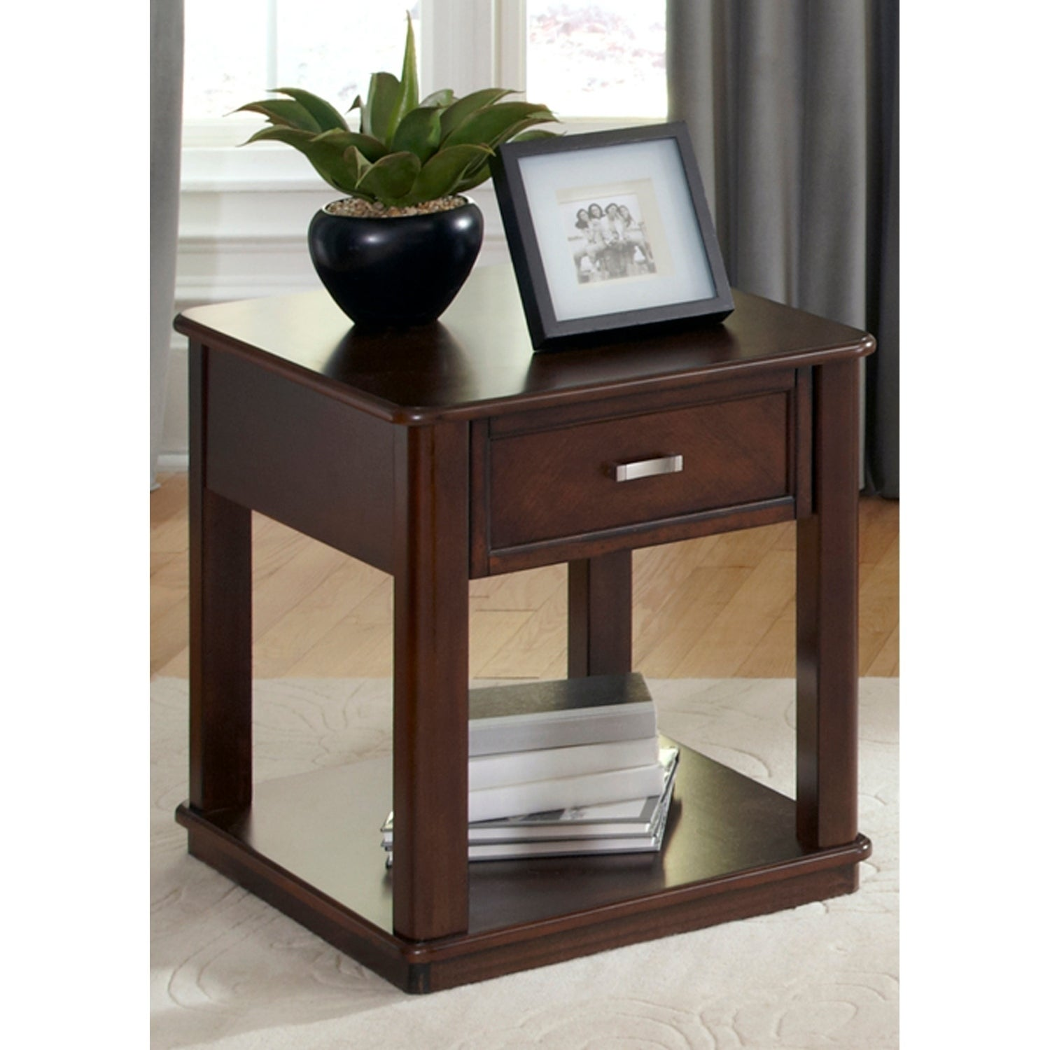 Shop Wallace Dark Toffee End Table Overstock 10562544