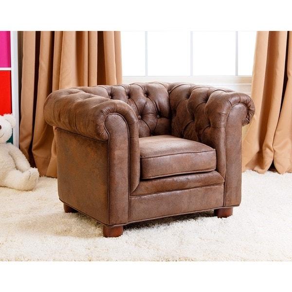 Abbyson kids antique brown velvet chesterfield rj mini for Toddler mini chair