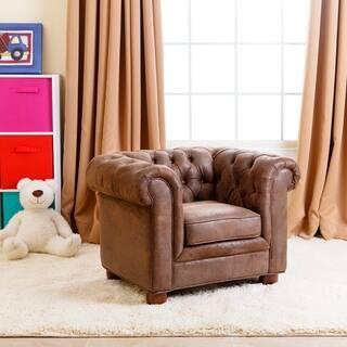 Abbyson Kids Antique Brown Velvet Chesterfield RJ Mini Chair