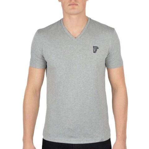Versace Collection Heather Grey V-Neck Medusa Short Sleeve T-Shirt