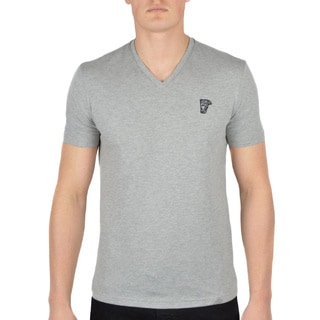 Versace Collection Heather Grey V-Neck Medusa Short Sleeve T-Shirt