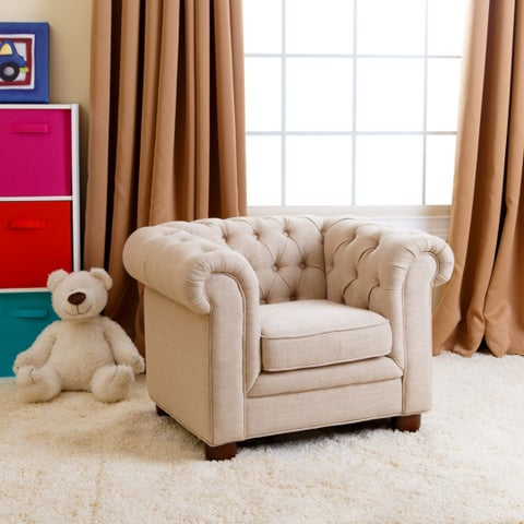 Abbyson Kids Beige Linen Chesterfield RJ Mini Chair