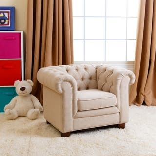 Abbyson Kids Beige Linen Chesterfield RJ Mini Chair