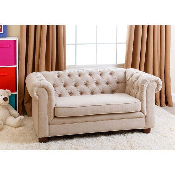 abbyson kids beige linen chesterfield rj mini sofa free. Black Bedroom Furniture Sets. Home Design Ideas
