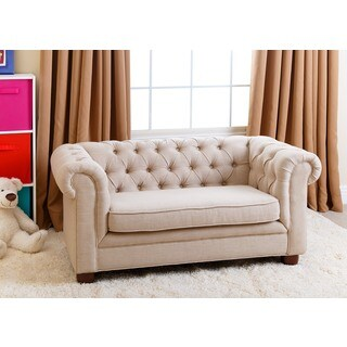 Abbyson Kids Beige Linen Chesterfield RJ Mini Sofa