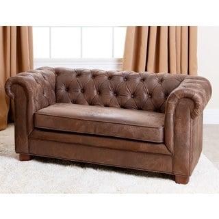 ABBYSON LIVING Kids Antique Brown Velvet Chesterfield RJ Mini Sofa