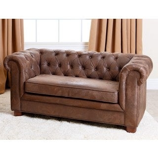 Abbyson Kids Antique Brown Velvet Chesterfield RJ Mini Sofa