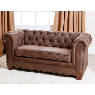 Abbyson Kids Antique Brown Velvet Chesterfield RJ Mini Sofa