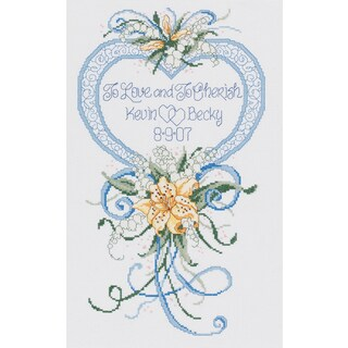 Cherish Wedding Heart Counted Cross Stitch Kit9inX15in 14 Count