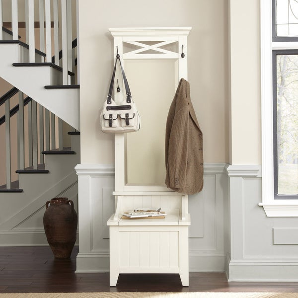 Shop Liberty Rustic White Hall Tree With Bench Storage Free