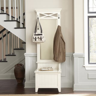 Hearthstone Rustic White Hall Tree With Bench Storage