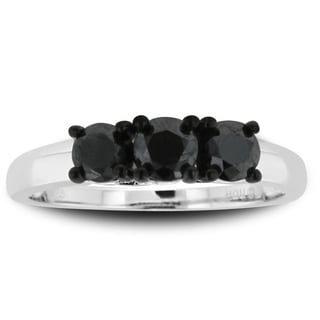 Sterling Silver 1ct TDW Triple Black Diamond Ring
