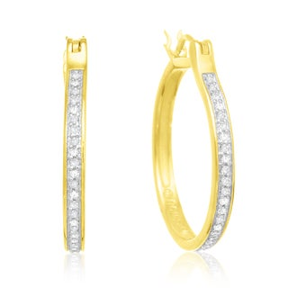 14K Yellow Gold Over Sterling Silver 1/4ct TDW Diamond Hoop Earrings (J-K, I2-I3)