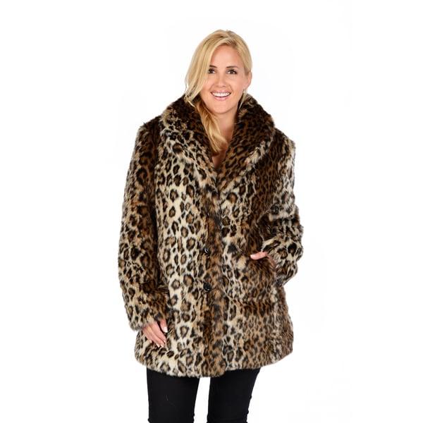 Excelled Women's Plus Leopard Faux Fur
